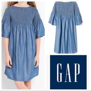 Chambray Smocked Dress with Bell Sleeves